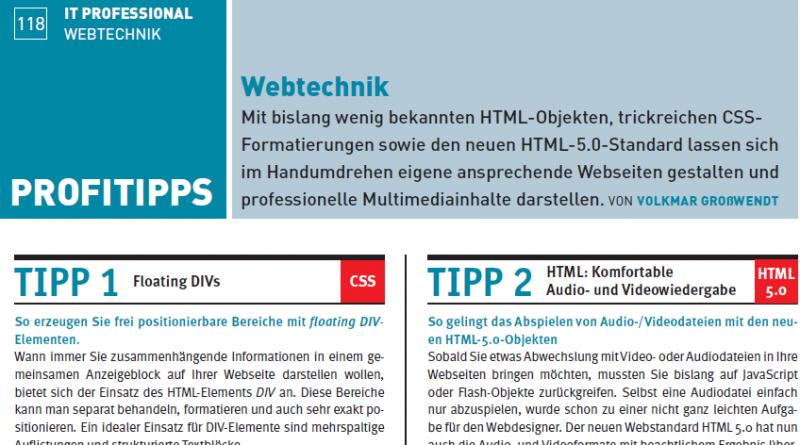 Webtechnik Tipps 09/2010 PC-Magagzin